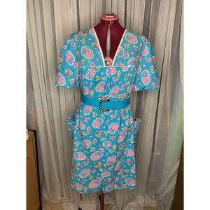 house dress duster hearts flowers pockets sz XL